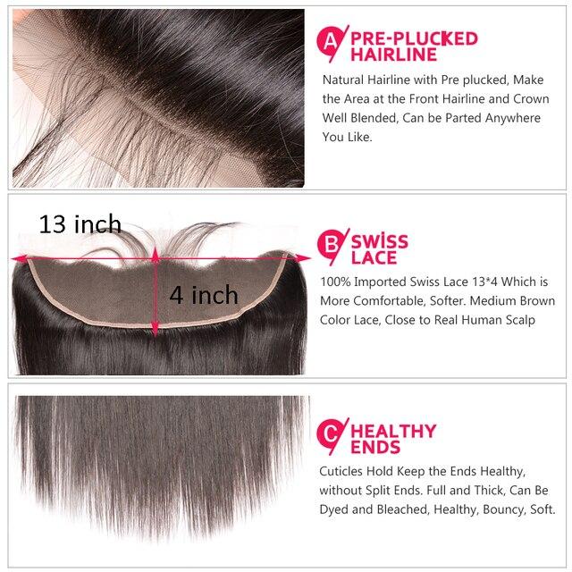 Mèches brésiliennes Remy avec Lace Frontal-Staright | Cheveux naturels, avec Frontal, 10- 30 pouces