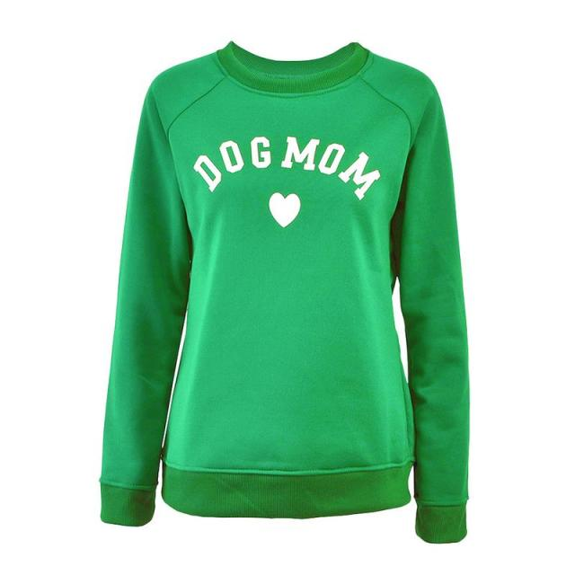 Dog Mom Women's Plus Velvet Fashionable Long Sleeve Casual Sweatshirt Printing Heart-shaped Print Kawaii Sweatshirt Clothing 1