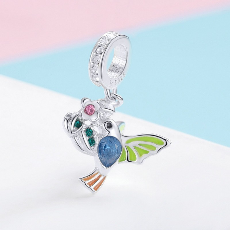 925 Sterling Silver Thorn Birds Colorful Animal Charms Fit Original Women Charm Bracelet Bangle Jewelry SCC1021 in Charms from Jewelry Accessories