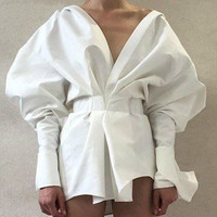 Women Blouses Temperament White Shirt V Neck Puff Sleeve Top White Slim Waist Long Women Shirts Spring Summer 2019 New E921