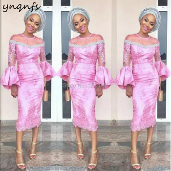 YNQNFS M10 Illusion Long Sleeve Vestidos Pink Party Gown Mother Outfits Tea Length Sheath Lace Mother of the Bride Dresses