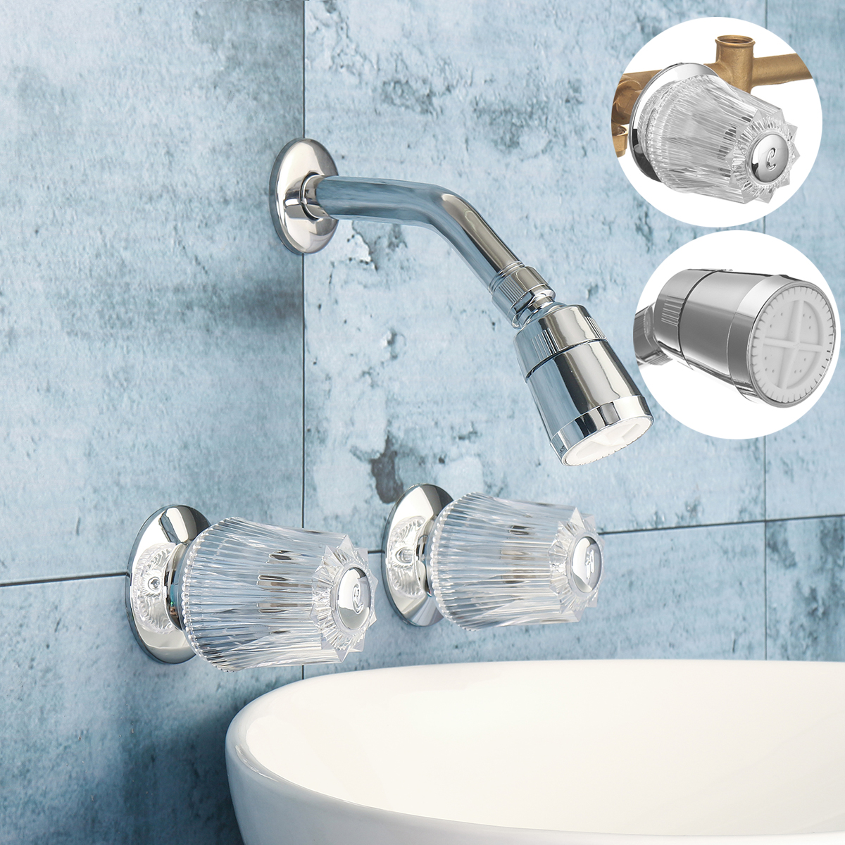 Us 16 24 42 Off Xueqin Brass Double Crystal Handles Bathtub Basin Faucets Shower Faucet Spout Cold And Hot Mixer Tap Wall Mounted In Shower Faucets