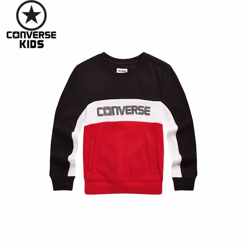 цена на CONVERSE Children's Garment New Year Red Boy Round Neck Pullover Sweater Children #81121HO087