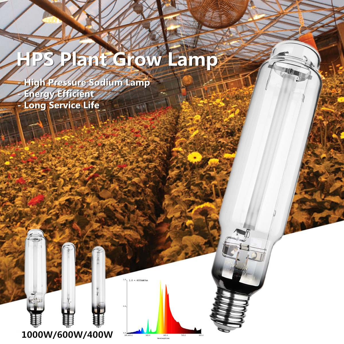 400W 600W 1000W HPS Plant Grow Lamp E40 23Ra High Pressure Sodium Lamp Energy Efficient Long Service Life 23000 Hours