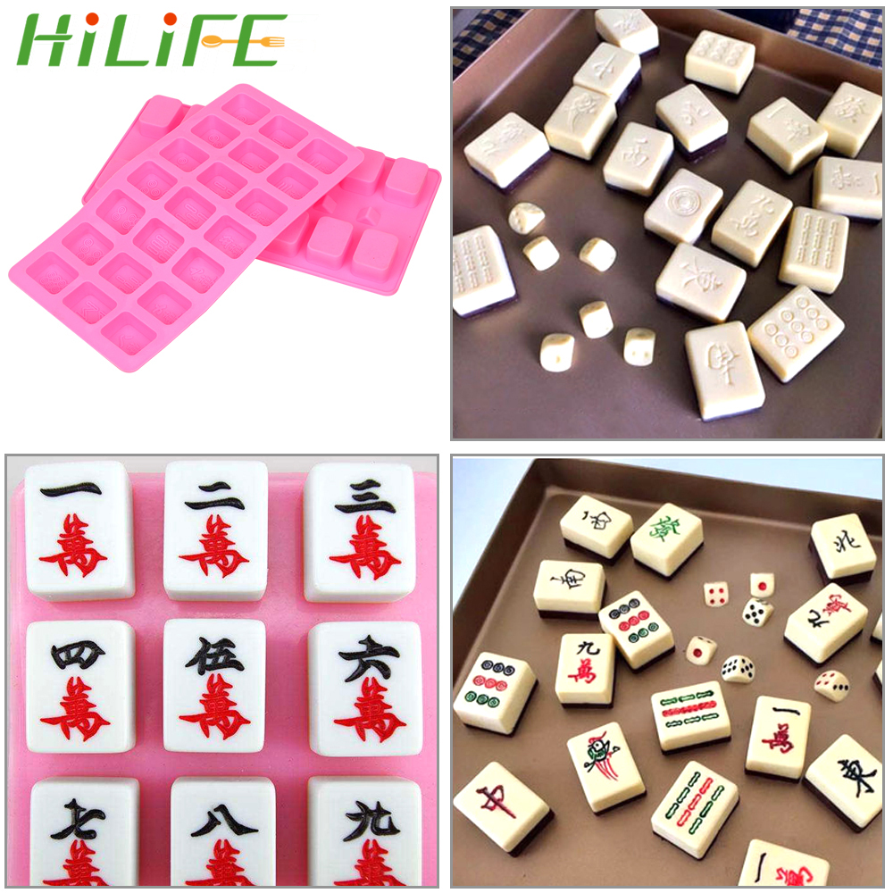HILIFE 29*15cm Jelly Candy Chocolate Soap Mould Cake Tool Decorating Tool Mahjong Shape Cake Mold
