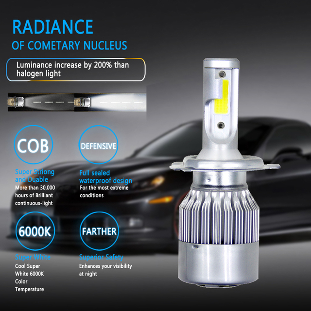 1X H7 9004 9005 H4 Led H4 Auto Headlights72w 8000lm Auto LED Lampen Auto Koplamp 6000 k led 12 v mistlampen C6 Auto Led