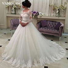 VAMOLASC Elegant O Neck Crystal Sash Ball Gown Wedding Dresses Lace Appliques Illusion Sleeve Sweep Train Bridal Gowns