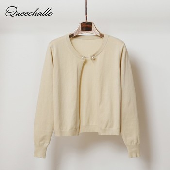 Queechalle Short Knitted Cardigan Coat Women 2019 Spring Autumn Fashion Chain Button Long Sleeve Sweater Coat Female Loose Tops