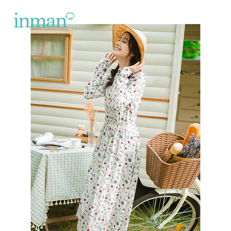 NO INMAN 2019 Spring New Arrival Turn Down Collar Literary Floral Defined Waist Slim Loose
