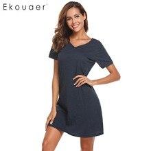 Ekouaer Women Casual Night Dress Sleepwear Cotton V Neck Short Sleeve Solid Nightgown Lounge Dress Female Night Sleeping Dress