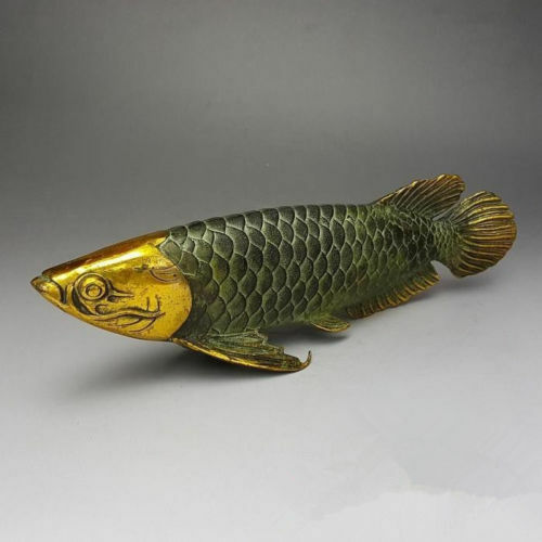 Chinese Bronze Gilt Old Handwork Lucky Home Decoration Handicraft ' Fish '