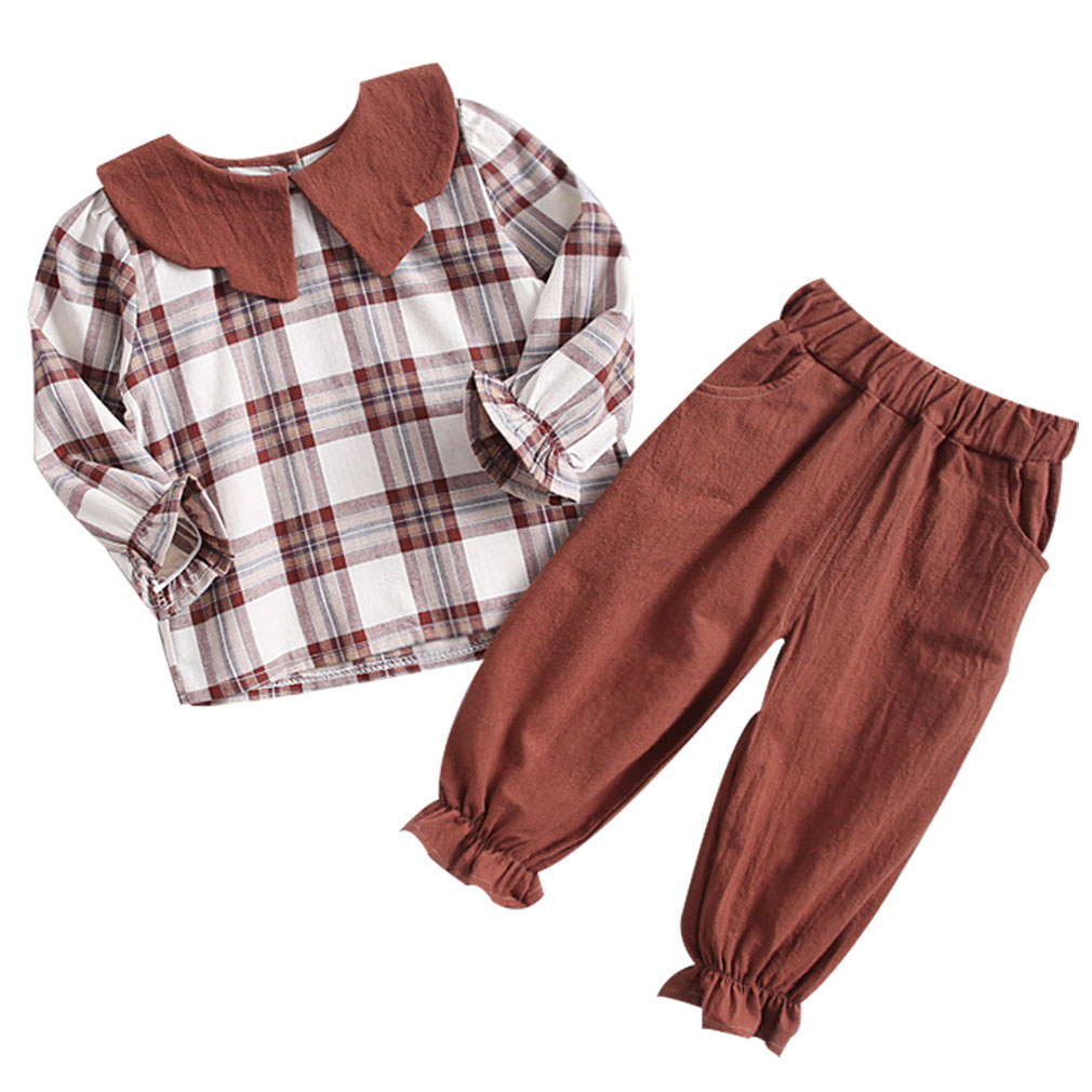 2pcs Baby Girls Clothes Set Plaid Pattern Tops And Pants Children Clothing Sets Kids Outfit2pcs Baby Girls Clothes Set Plaid Pattern Tops And Pants Children Clothing Sets Kids Outfit
