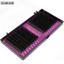 GLAMLASH 16Rows hand made synthetic mink individual eyelash extension lashes natural soft false eyelashes makeup cilios glamlash 2 cases lot brown purple blue green red color lash extension individual mink false eyelashes makeup cilios for building