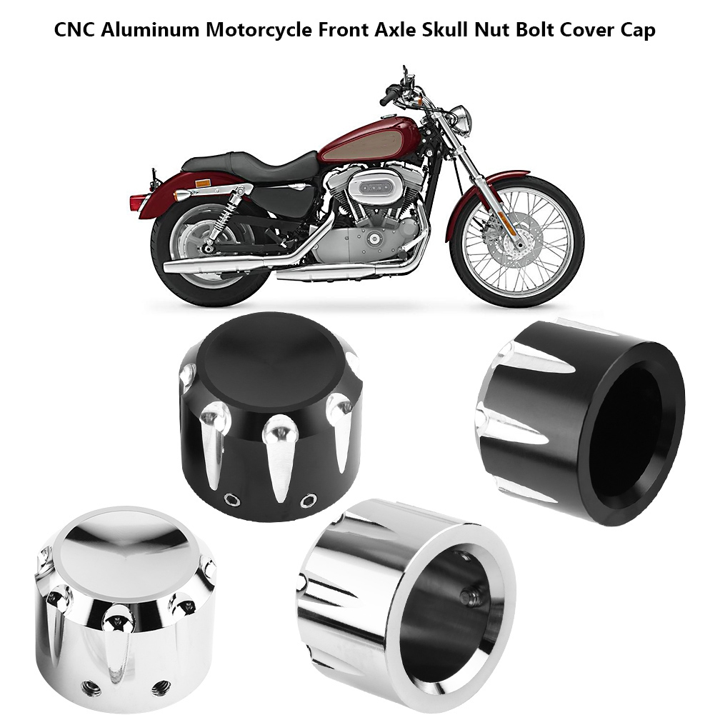 Front Axle Nut Cover,2pcs CNC Aluminum Motorcycle Front Axle Skull Nut Bolt Cover Cap Lug Nuts Plating