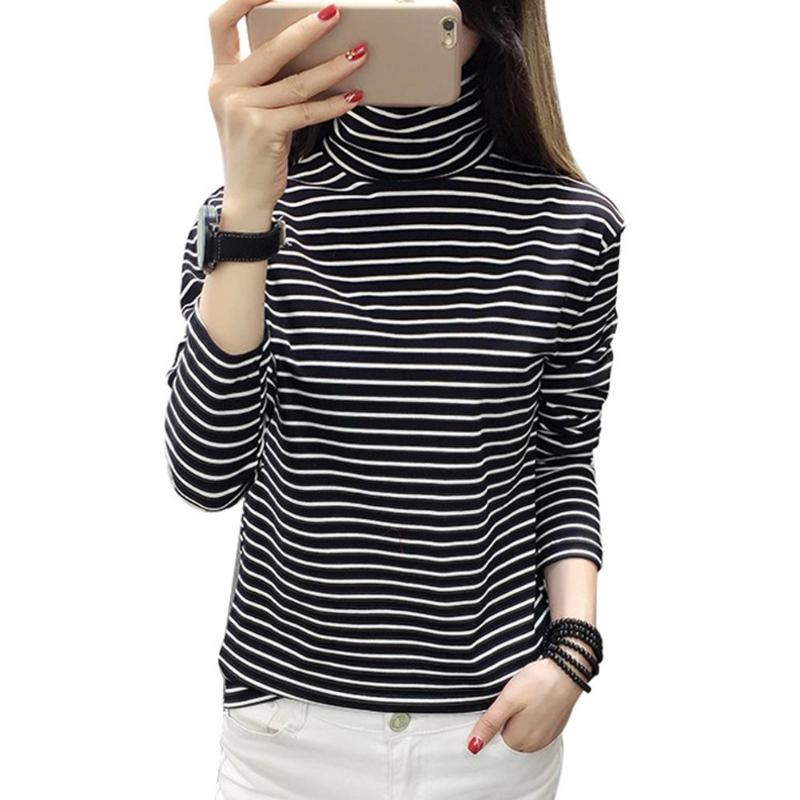 New Woman Tee Shirts Korean Harajuku Striped Turtleneck Long Sleeve T-shirt Soft Slim Fit Casual Spring T-shirts Tops for Women