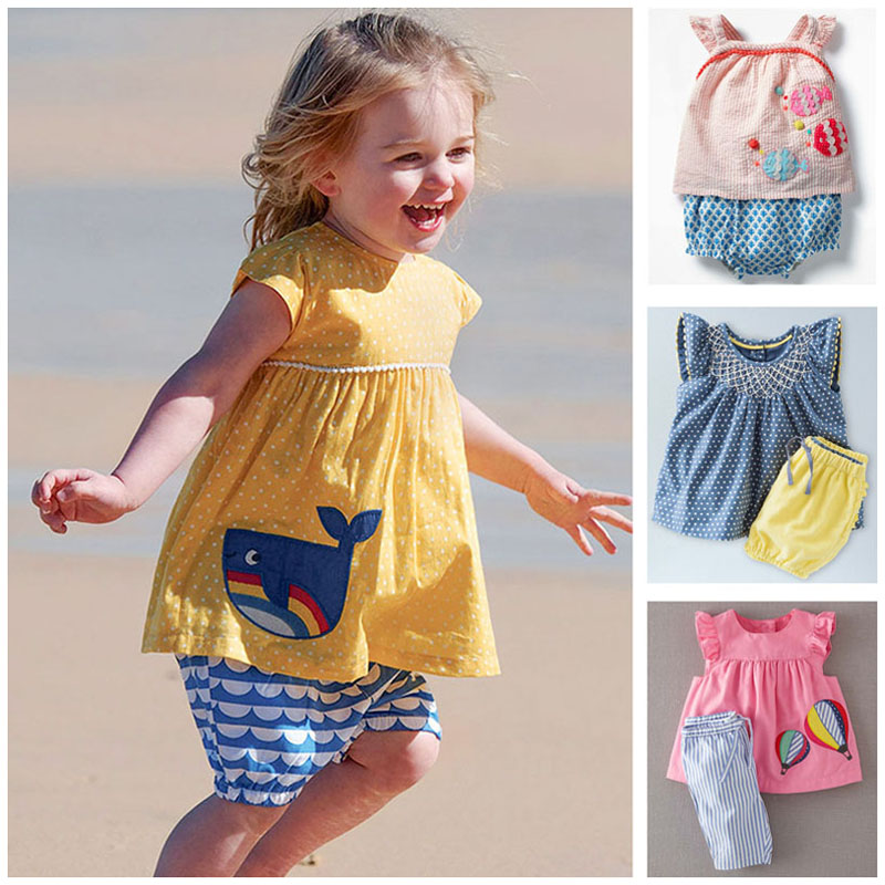 78866f5ee091f US $10.88 30% OFF New 2019 Brand Quality 100% Cotton Summer Baby Girl  Clothes Set Children Suits Baby Girls Short Sleeve T shirt Clothing Set  Kids-in ...