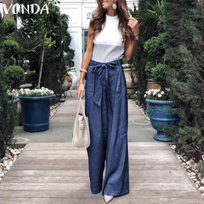 VONDA Summer Pants 2019 Loose Denim Wide Leg Pants Jeans Elastic High Waist Trousers Womens Clothing Casual Bottoms Pantalon 5XL