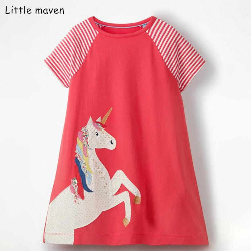 da9437afaa35 Little maven 2019 new summer baby girls clothes brand dress kids cotton  striped animal print short