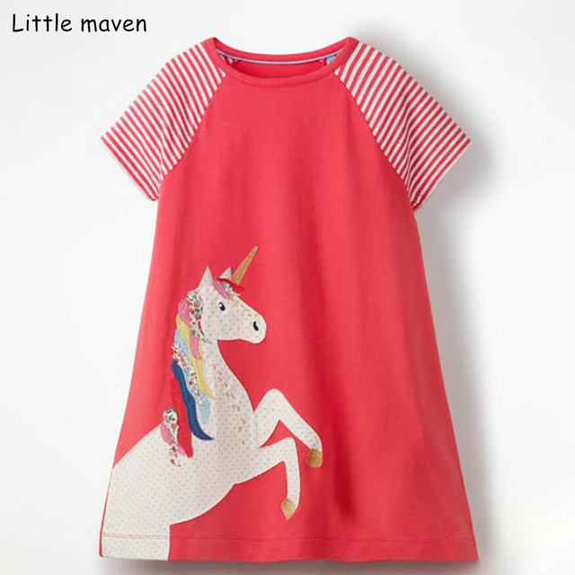 da657c87a7c05 US $7.96 43% OFF|Little maven 2019 new summer baby girls clothes brand  dress kids cotton striped animal print short sleeve dresses-in Dresses from  ...