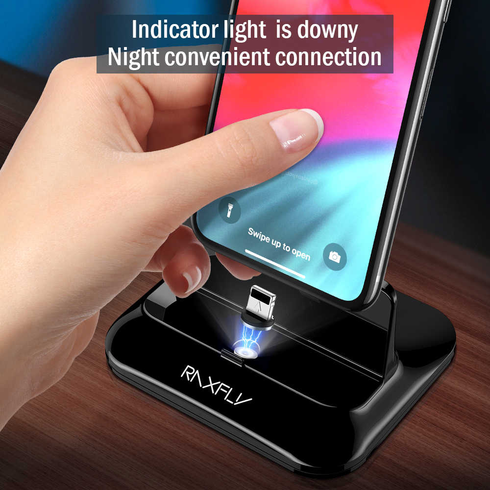 RAXFLY USB แท่นชาร์จสำหรับเดสก์ท็อปสำหรับ iPhone X XS MAX สถานีชาร์จแม่เหล็กชาร์จ Micro USB ประเภท C ผู้ถือโทรศัพท์