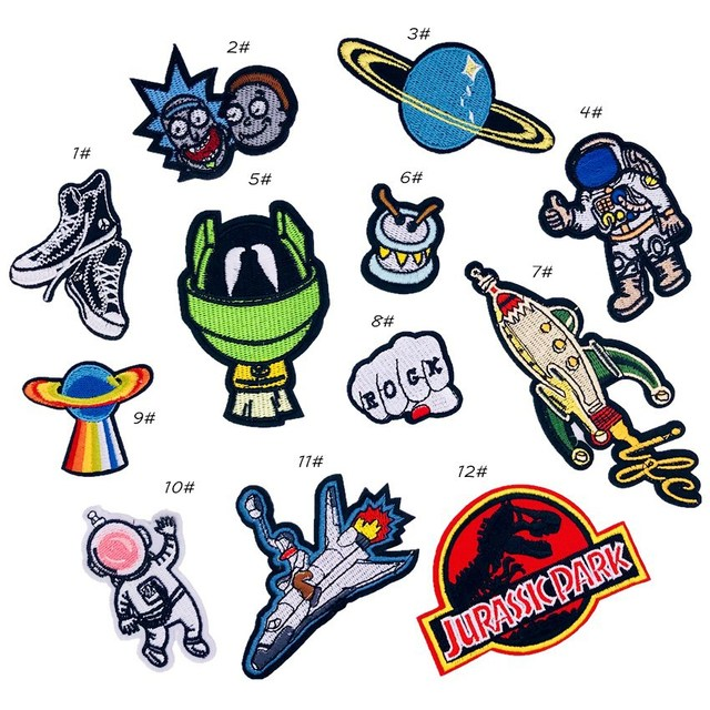 bd46e9b21 PGY Alien Rocket Embroidery Patches for Clothing Bag Hats Decoration ...