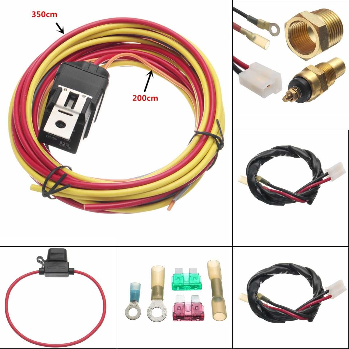 Electric Fan Relay Wiring Harness Heavy Duty Thermostat Dual Sensor Kit Waterproof Wiring Harness Overload Circuit Breaker hopkins 40215 plug in simple vehicle wiring kit