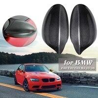 2PCs Carbon Fiber Side Mirror Covers Case For BMW Pre facelift E90 E93 05 08 Black
