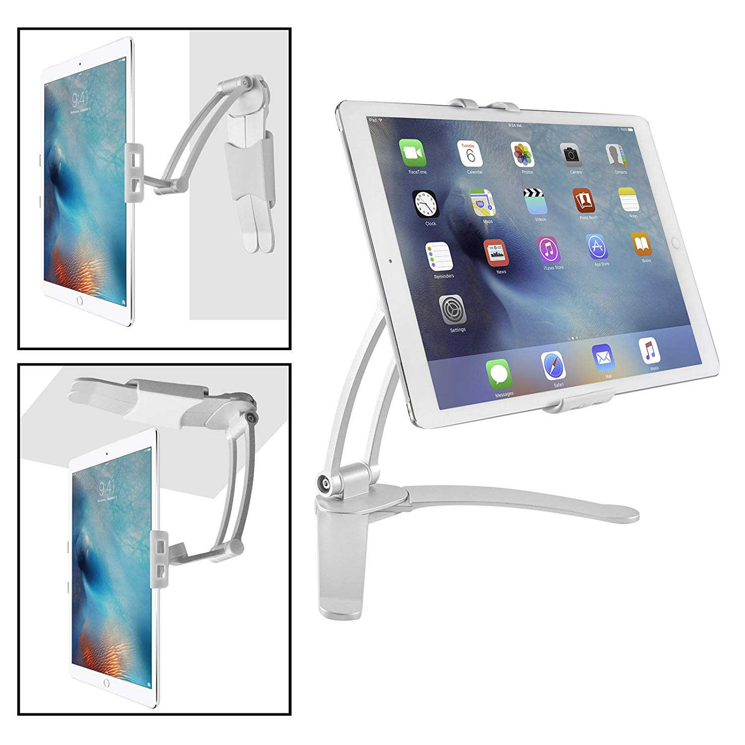 2-in-1 Kitchen Desktop Tablet Stand Wall Mount for iPad Holder with Stylus  for 7-13 Inch Tablets 2018/iPad Pro 12.9/9.7/Air