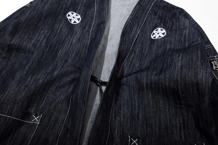#4204 Japanese Men Kimono Jacket Streetwear Fashion Cardigan Denim Windbreaker Jackets Men Harajuku With Embroidery Plus Size 4