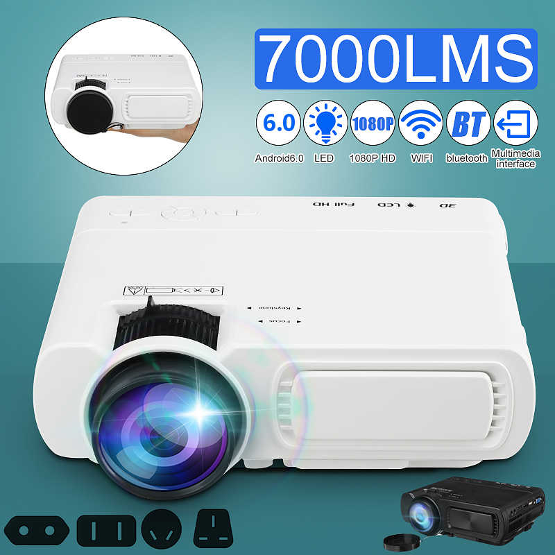 Мини-проектор T5 ЖК-дисплей 7000 люмен 1080 P Full HD Wifi bluetooth дома Театр Android 6,0 аудио динамик для домашнего кинотеатра Кино
