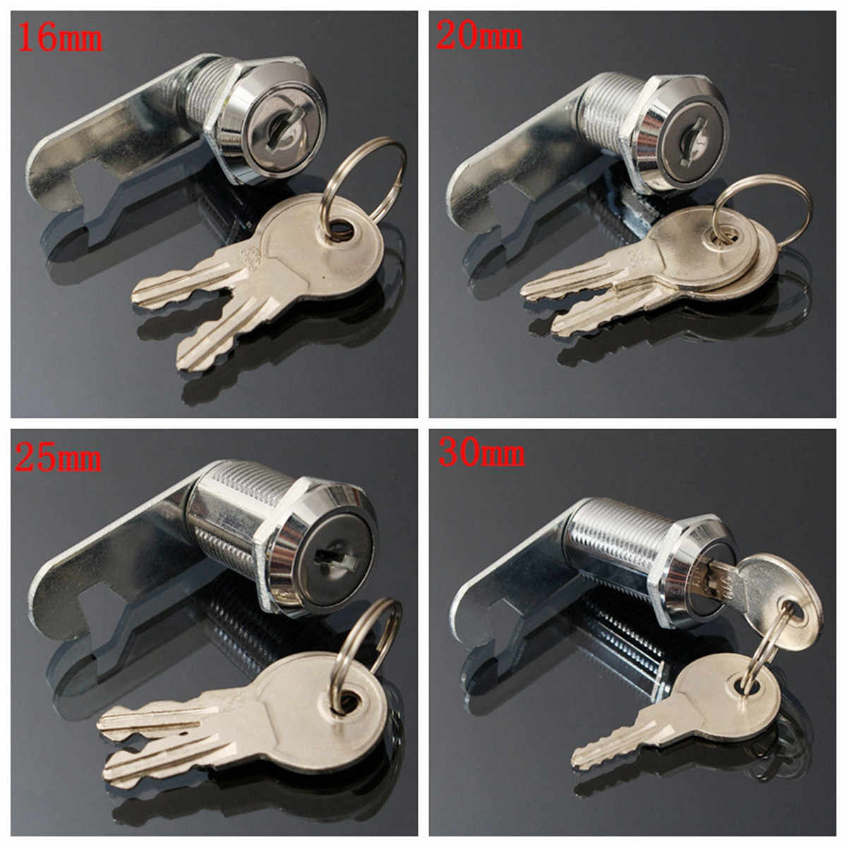 16/20/25/30mm Safe Cam Lock Pinball Arcade Machine Door Cabinet Toolbox Drawer & 2Key for Filing Mailbox Drawer Cupboard