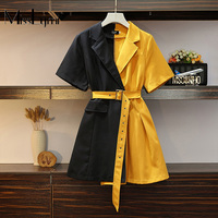 L 4XL Plus Size Women Blazer Dress Summer 2019 Short Sleeve Black Patchwork Yellow Loose Casual Short Dresses with Belt