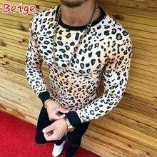 Slim Fit O Neck Long Sleeve Leopard Tops SF