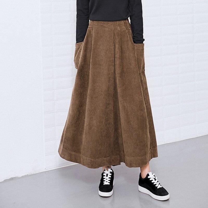 Winter Loose Ankle-length   Pants   Women Vintage Solid Color Corduroy Asymmetry High Waist   Wide     Leg     Pants