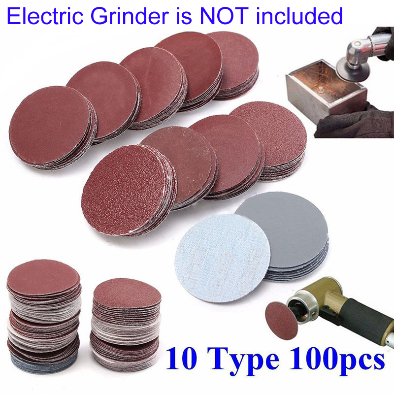 100x 2 Hole Hook And Loop Sanding Discs Assorted Orbital Sander Round Sandpaper