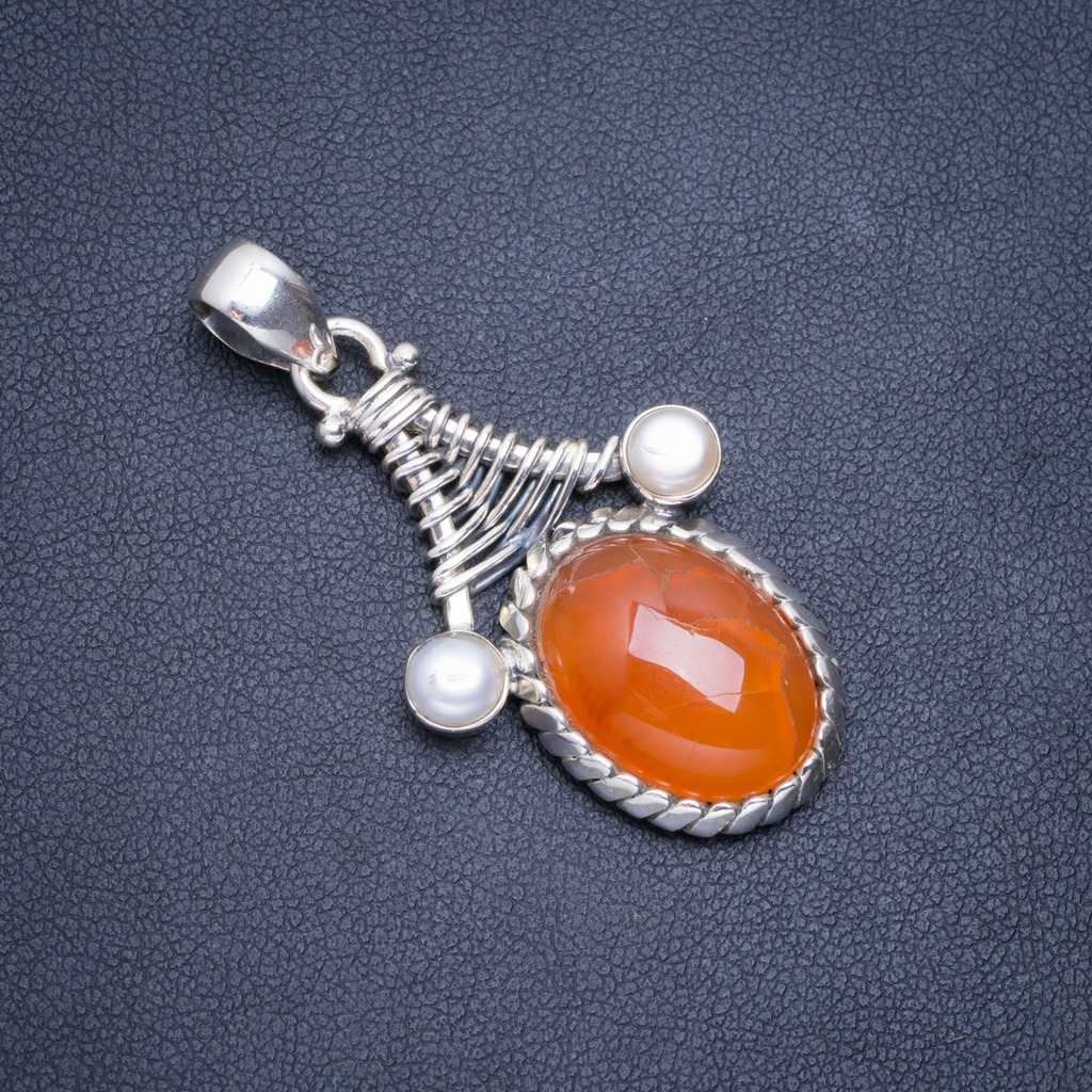 Natural Carnelian and River Pearl Handmade Unique 925 Sterling Silver Pendant 1.75 A0521Natural Carnelian and River Pearl Handmade Unique 925 Sterling Silver Pendant 1.75 A0521