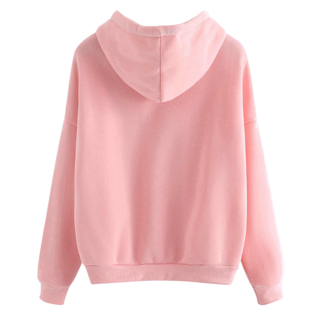... Harajuku Pink Hoodies Women Show Love Heart Printed Hooded Sweatshirts  Oversize Tops Ladies Cat Ear Pullover a480efd339a9