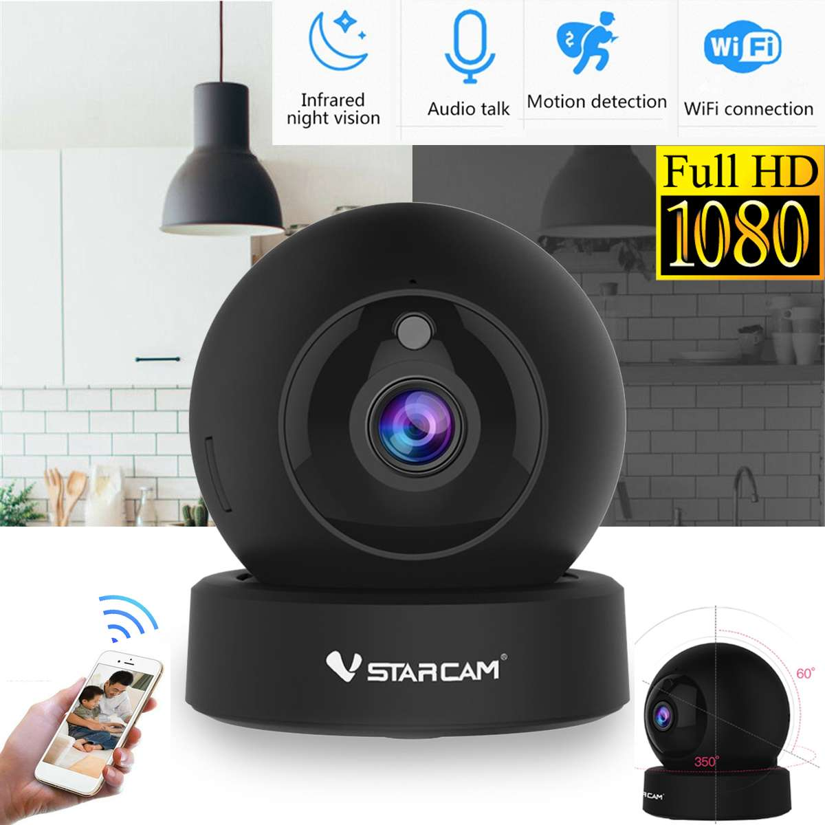 Monitor Ip-Camera Wifi Video-Recorder Night-Vision Two-Way-Audio Home-Security 1080P