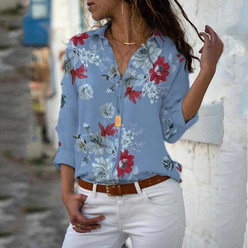 Bluzki damskie bluzki 2019 jesień elegancka, długa koszulka z nadrukiem dekolt w serek szyfonowa bluzka damska odzież robocza koszule Plus rozmiar 5XL