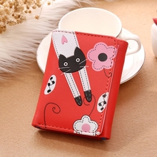 Fashion Wallet Cartoon Lady Short Wallet Card Package Ms. 3 Fold Wallet Purse Female Coin Purse цены онлайн