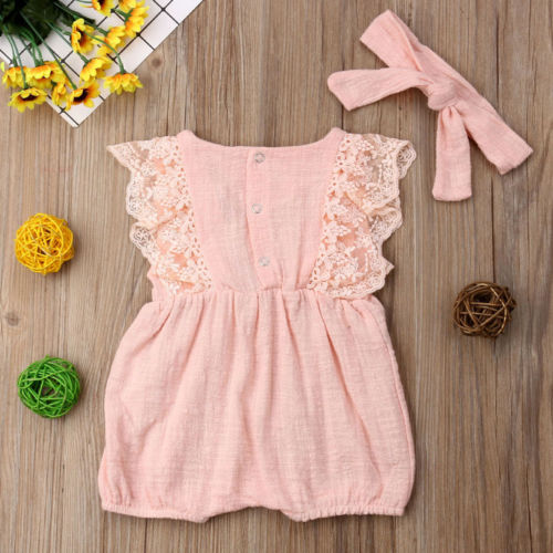 Baby Girl Romper Dress Lace Ruffle Halter Jumpsuit Sunsuit Headband Outfit 0-24M