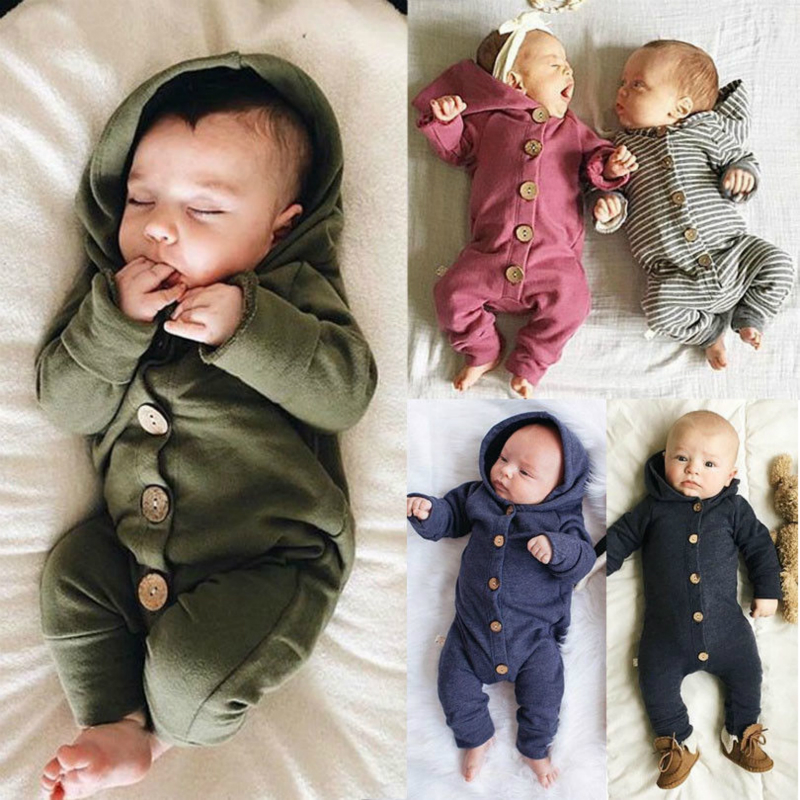 Toddler Baby Clothes Hooded Long Sleeve Button Boy&Girl Kids Baby Rompers Cotton Jumpsuit New Born Baby Clothes Casual Outfit(China)