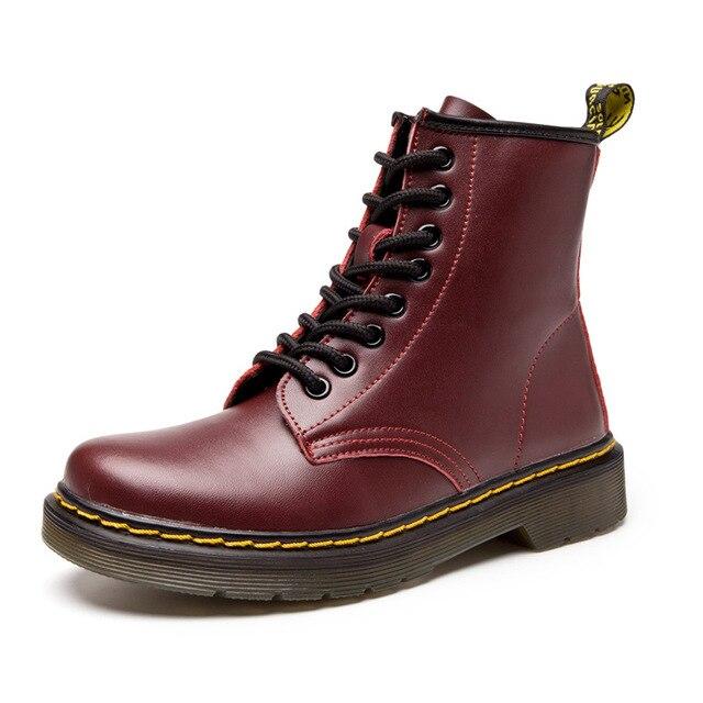 Markalar kadın Çizmeler Martens Deri Kış sıcak ayakkabı Motosiklet kadın yarım çizmeler Doc Martens Kürk Çift Oxford Ayakkabı