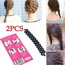 купить 2 PCS French Hair Braiding Tool Roller With Magic hair Twist Styling Bun Maker Fish Bond Waves Hair Band Accessories 2019 hot дешево