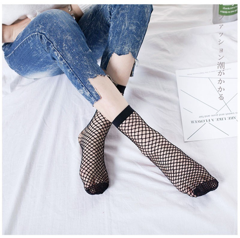 Woman Harajuku Streetwear Fishnet Kabaretki Ankle   Socks   Summer 2019 Mesh Fashion   Socks   Fishnet Short   Socks   Nylons Lady Kawaii