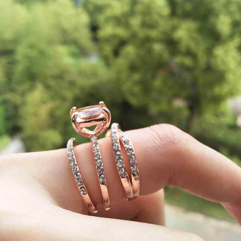 Мода 3 шт./компл. CZ кристалл квадратное кольцо набор роскошный однотонный цвет розовое золото кольцо набор Свадебные обручальные кольца для женщин ювелирные изделия подарки