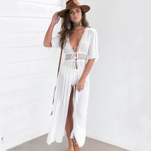 Новый купальник с закрытой повязкой белая пляжная одежда сексуальное прозрачное пляжное платье Женская Длинная накидка на купальный костюм полые комбинезоны