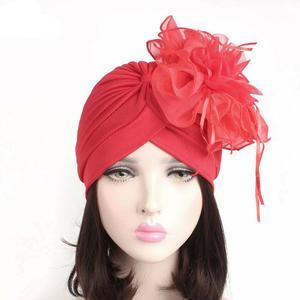 Image 3 - Indian Women Muslim Retro Turban Hat Big Flower Bonnet Lace Hair Loss Head Scarf Wrap Caps Pleated Tassel Chemo Hat Beanies New