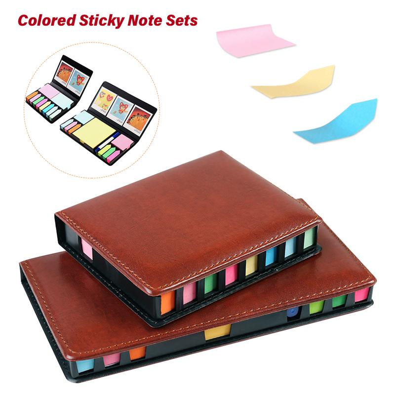 Colored Sticky Note Sets Self-Stick Note Box Sets With Page Markers Index Tabs Flags School Office Supplies(China)