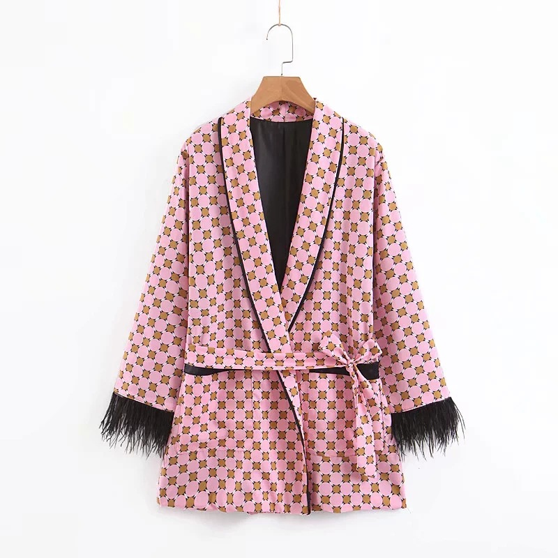 Women's Suit Set Two-Piece 2019 Summer New Women's Loose Print Tassel Decorative Kimono Jacket Casual Loose Wide Leg Pants